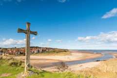 Alnmouth beach with wooden cross Stock Photos