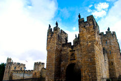 Alnwick Castle. In Northern England was used as the inspiration and filming of Hogwarts School of Witchcraft and Wizardry in the Harry Potter Series Royalty Free Stock Photo