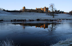 Alnwick Castle. Taken on a very frosty morning from the pastures stock images