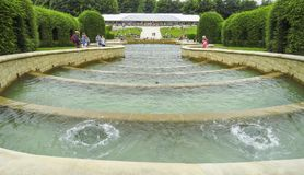 Alnwick Castle Garden Fountain view from the top, August 2nd, 2016 - in the English county of Northumberland. UK stock images