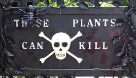 Alnwick Castle Garden - Poison garden sign, August 2nd, 2016 - in the English county of Northumberland. UK stock photos