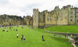Alnwick Castle inside the walls, August 2nd, 2016 - in the English county of Northumberland. UK stock photography