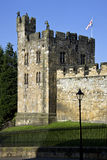 Alnwick Castle in Northumberland - England. Tower at Alnwick Castle in the town of Alnwick in Northumberland in North East England. Dates from 1096AD when Yves Royalty Free Stock Images