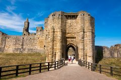 Alnwick Castlescotland united kingdom europe. Alnwick Castle is one of Britain`s most iconic castles. One of the North East and Northumberland top tourism royalty free stock photos