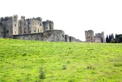 Alnwick CastleView from base of hill. Royalty Free Stock Photo