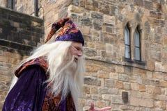 ALNWICK, NORTHUMBERLAND/UK - 19 AGOSTO: Intrattenere di Dumbledore fotografia stock libera da diritti