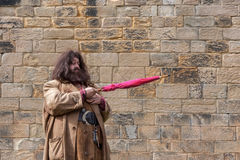 ALNWICK, NORTHUMBERLAND/UK - AUGUST 19 : Hagrid entertaining the. Crowds at Alnwick Castle in Alnwick Northumberland on August 19, 2010. unidentified man Stock Images