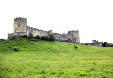 Alnwick-Schloss von der Unterseite des Hügels. lizenzfreies stockfoto