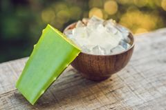 Aloe Βέρα και aloe κύβοι σε ένα ξύλινο κύπελλο Aloe χρήση πηκτωμάτων της Βέρα σχεδόν στα τρόφιμα, ιατρική και βιομηχανία ομορφιάς Στοκ φωτογραφία με δικαίωμα ελεύθερης χρήσης