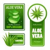 Aloe Βέρα Leaves Label Banners Set Στοκ Φωτογραφία