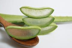 Aloe affettato, isolato su fondo bianco Immagine Stock