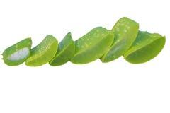 Aloe affettato, isolato su un fondo bianco Fotografia Stock Libera da Diritti