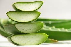 Aloe affettato vera con le foglie Fotografie Stock