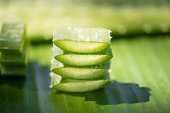 Aloe affettato vera sulla foglia verde della banana Fotografia Stock Libera da Diritti