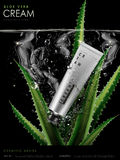 Aloe cream ad. Aloe cream contained in silver tube, with water and aloe elements, 3d illustration Stock Photography