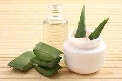 Aloe cream and oil Royalty Free Stock Photos