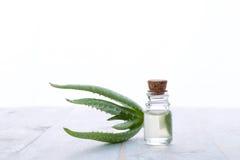 Aloe fresco vera con l'olio dell'aroma su fondo di legno Immagine Stock