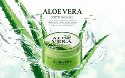 Aloe soothing gel. Aloe vera soothing gel, contained in green jar, with aloe and splash elements, 3d illustration Stock Image
