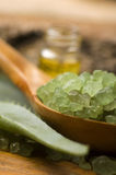 Aloe vera with bath salt and massage oil Stock Images
