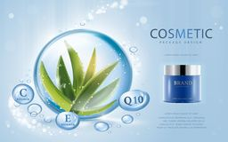 Aloe vera cosmetic template. 3D illustration cosmetic mockup with ingredients aloe vera in the water drop Stock Photos