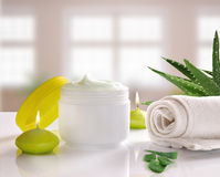 Aloe vera cream front view with background windows Stock Images