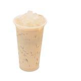 Aloe vera del latte del tè di ghiaccio in vetro asportabile Fotografia Stock Libera da Diritti