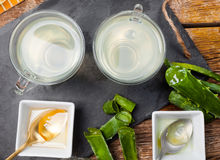 Aloe vera della bevanda e miele Fotografia Stock Libera da Diritti