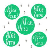 Aloe vera design elements. Stamps collection. Vector Hand lettering Royalty Free Stock Photography