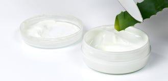 Aloe vera e crema d'idratazione Immagini Stock Libere da Diritti