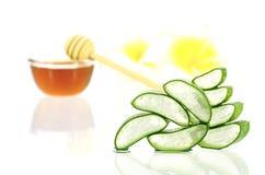 Aloe vera e miele per capelli ed il trattamento facciale Fotografia Stock