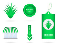 Aloe vera elements Royalty Free Stock Images