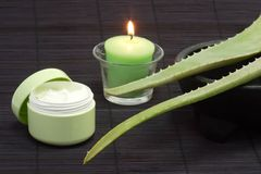 Aloe vera facial cream Royalty Free Stock Photography