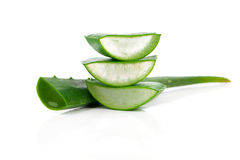 Aloe vera fresh leaf. Over white Royalty Free Stock Photo