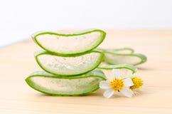 Aloe vera fresh leaf water can help neutralize free radicals and Stock Photo