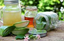Aloe vera, honey for skin care. Nutrition food from aloe vera leaf and honey, a nature cosmetic for skin care from herb, also   use as medicine for health Royalty Free Stock Image