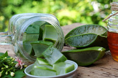 Aloe vera, honey for skin care. Nutrition food from aloe vera leaf and honey, a nature cosmetic for skin care from herb, also   use as medicine for health Stock Photos