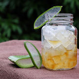 Aloe vera, honey for skin care. Nutrition food from aloe vera leaf and honey, a nature cosmetic for skin care from herb, also   use as medicine for health Royalty Free Stock Photo