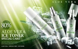 Aloe vera ice toner. Contained in bottles, with aloe and cube elements, 3d illustration Royalty Free Stock Photography