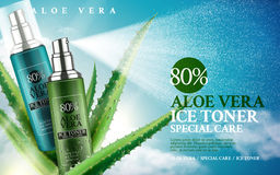 Aloe vera ice toner. Contained in spray bottles, 3d illustration Stock Photo