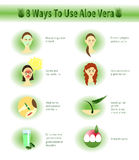 Aloe Vera infographic.Aloe Uses. Royalty Free Stock Photos