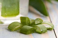 Aloe vera juice with fresh leaves Stock Image