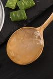 Aloe vera juice with fresh leaves Royalty Free Stock Image
