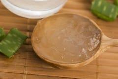 Aloe vera juice with fresh leaves Stock Image