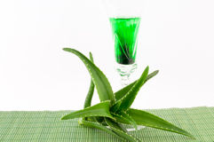 Aloe Vera. Juice of it on a white background royalty free stock images