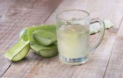 Aloe Vera on rustic wooden table background Royalty Free Stock Image