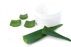 Aloe vera leaves and cream Royalty Free Stock Image