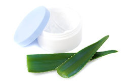 Aloe vera leaves and cream Stock Photo