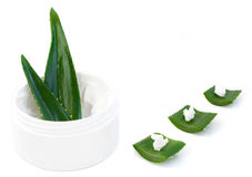Aloe vera leaves and cream Stock Photos