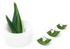 Aloe vera leaves and cream Stock Photos