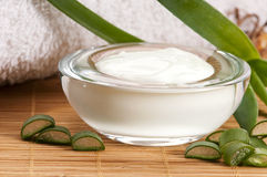 Aloe vera - leaves and face cream stock photo